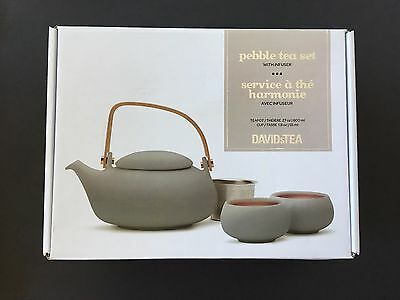 NIB DAVIDsTEA Pebble Tea Set with Infuser, Grey, 4-Piece, Porcelain, Gift Box