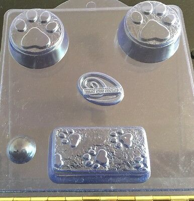 Paw Prints -  Milky Way Soap Mold. 3 cavities 2 different patterns