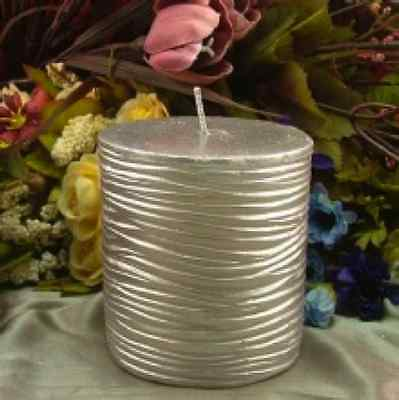 Round Pillar Silicone Candle MOULD/MOLD - STRIPY  - Size 9.5cm x 6.5cm