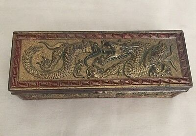 Vintage Japanese Brass Metal Asian Dragon Desktop Stamp Postage Box Holder