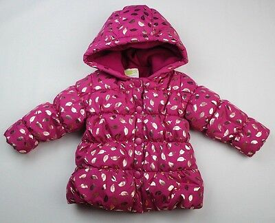 crazy 8 Baby Girl Light Puffer Hooded Winter Jacket Pink Leafs Size12-18 Months