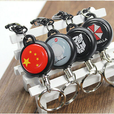 """Self Retracting Key Ring Chain Holder High Resilient 23"""" Stainless Steel Reel"""