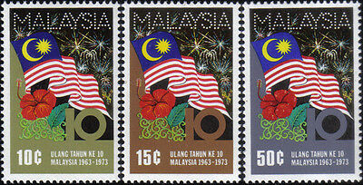 1973 10th Anniv of Malaysia Flag Flower Flora Malaysia Stamp MNH