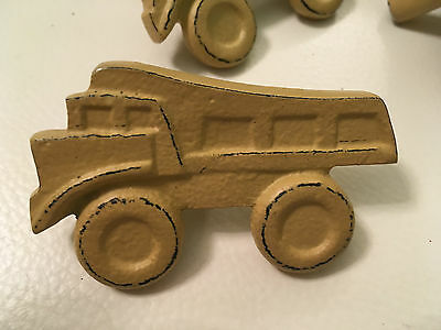 Six Vintage Style Tan Metal Pottery Barn Kids Dump Truck Chest of Drawer Knobs