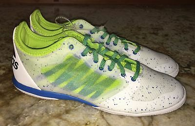 sports shoes b4e23 0581e ADIDAS X 15.1 Indoor White Lime Green Blue Soccer Shoes NEW Mens Sz 10.5