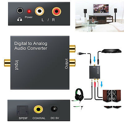 RCA Digital Optical Coax Coaxial Toslink to Analog Audio Adapter Converter 3.5mm