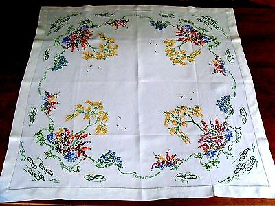 Vintage Hand Embroidered Tablecloth Cottage Garden Trees Birds Ponds Gorgeous