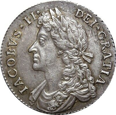1697, James II Shilling. 7/6 G over A in MAG. Rare. Extremely Fine. Spink £ 3000