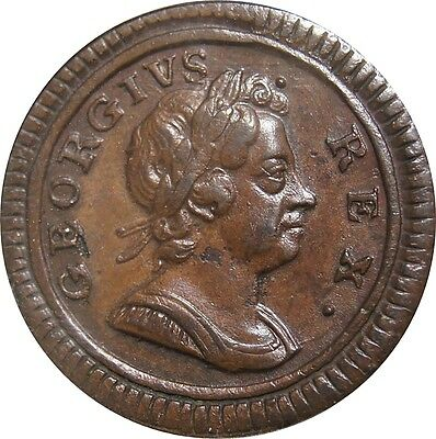 1724 Copper Farthing, George I. About uncirculated. Peck 828