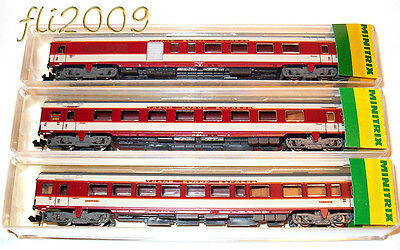 * Minitrix scala N 13122 13123/24 Set 3 Carrozze Grand Confort SNCF  OVP