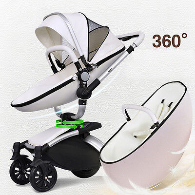 Luxury Baby stroller 2 in1 leather Carriage Infant Travel System Foldable Pram