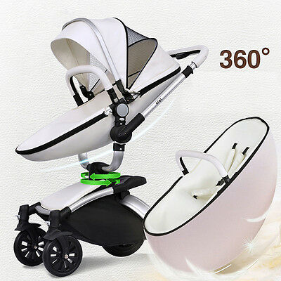 Luxury Baby stroller 3 in1 leather Carriage Infant Travel System Foldable Pram