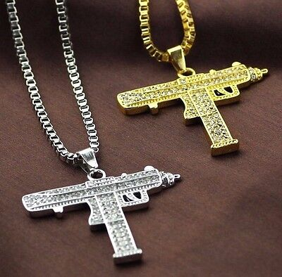 Rhinestone Gold Silver Tone Machine Gun Pistol Uzi Pendant Necklace  Uk Seller