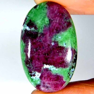 35.55cts 100% NATURAL BEAUTIFUL PINK GREEN RUBY ZOISITE OVAL CABOCHON GEMSTONE