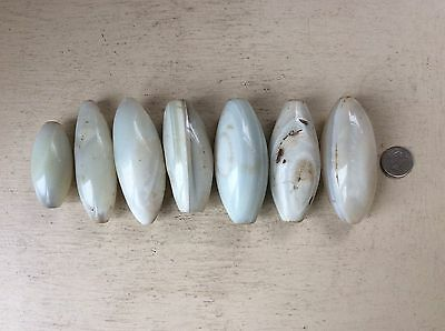Collection of Very LARGE Antique African White AGATE TRADE BEADS