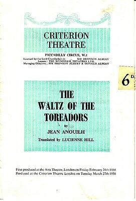 Criteron Theatre UK The Waltz of the Toreadors Jean Anouilh Playbill Old Ads