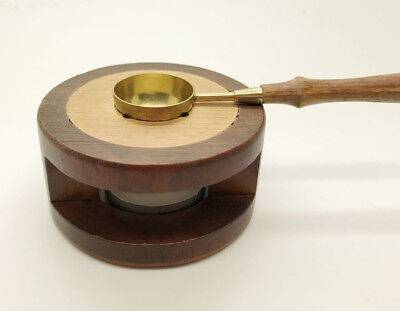 Wax Seal Stamp Stove 1Set Wooden Melting Furnace Tool with Wooden Metal Spoon