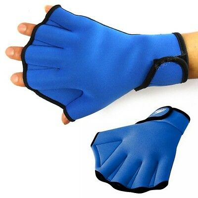 Paddle Gloves Webbed Fingerless Sport Swimming Surfing Swim Gloves Mittens AU