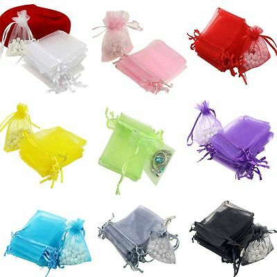 100PCS Wedding/Party Favor Gift Bags Pouches Organza Jewelry Drawstring Bag AU