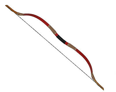 50lbs Red Archery Hunting Snakeskin Handmade Wooden Recurvebow Longbow Mongolian