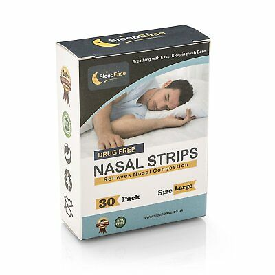 SleepEase PREMIUM Nasal Strips! STOP SNORING & NASAL CONGESTION 30 Large Strips