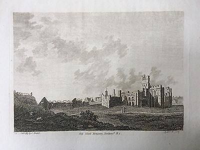 1785 Antique Print; Holy Island Monastery or Lindisfarne, Northumberland