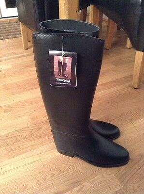 Long Rubber Toggi Riding Boots Size 6.5 Uk 40 Euro