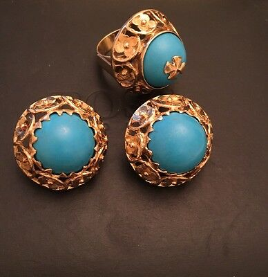 14ct Solid Gold  Real Turquoise  Earrings And Ring Set.