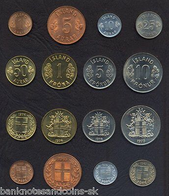 ICELAND COMPLETE FULL COIN SET 1+5+10+25+50 Aurar +1+5+10 Kronur UNC LOT of 8