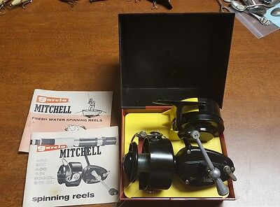 VINTAGE  GARCIA MITCHELL 300 SPINNING REEL w/ BOX & SPARE SPOOL MADE IN FRANCE