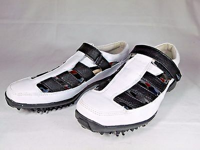 Womens FootJoy LoPro Collection Size 6 M White/Black Leather Golf Shoes 97193