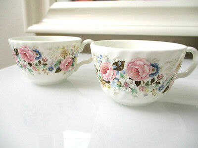 2 Minton ROSE GARLAND Tea Cup Fine Bone China Minton Limited 1973