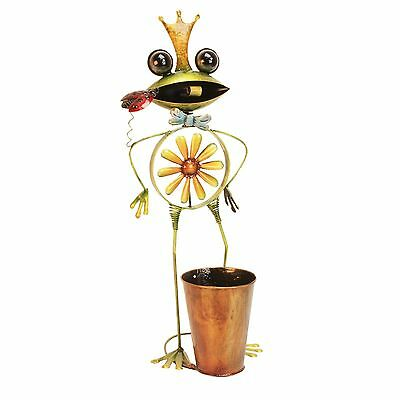 Metal Garden Wind Spinner Large Standing Frog and Planter