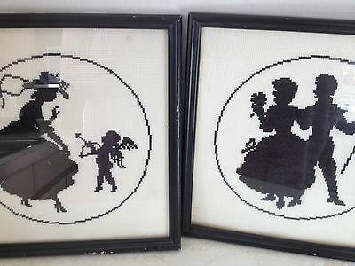 Vintage Black Silhouette Embroidered Needlepoint Framed Pictures x 2