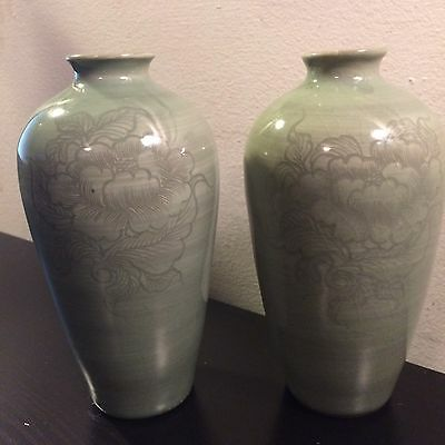 Awesome Pair Vintage Green Chinese Celadon Porcelain Peony Masculine Male Vases