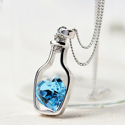 Fashion Women Silver Chain Crystal Heart Pendant Necklace Jewelry Gift