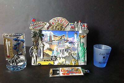 Lot 4 Las Vegas Pewter Frame, Shot Glass,Thermometer,Bottle Cap Opener Souvenirs