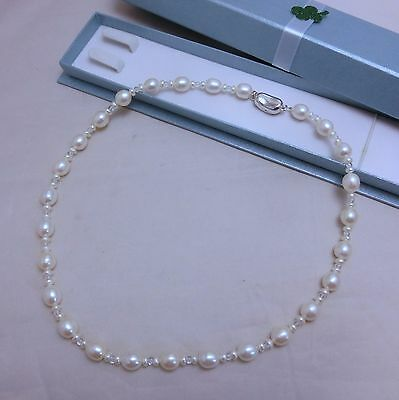 Off Brand Freshwater Pearl Strand Necklace Silver Clasp 17.7 inches