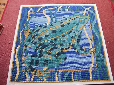 Ehrman Completed Needlepoint Tapestry Panel Cushion 'frog' 1989 Discontinued