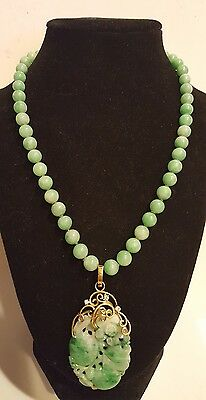 Chinese Apple green jade beads and pendant diamonds 14kt yellow gold necklace