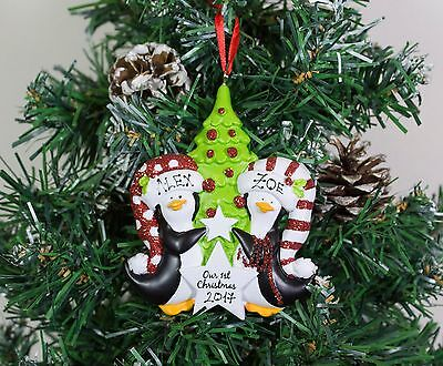 Personalised Couples Christmas Tree Ornament Decoration Penguins First Christmas