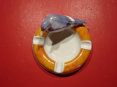 Cendrier Ancien Porcelaine Decor Pigeon