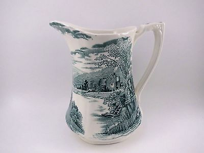 "Alfred Meakin Pitcher 6"" Transferware TINTERN GREEN EUC VTG Earthenware China"