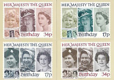 60th Birthday The Queen 1986 Great Britain 4 PHQ Cards (Stamps on Front)