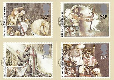 Arthurian Legend 1985 Great Britain 4 PHQ Cards (Stamps on Front)