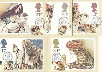 Christmas 1984 Great Britain 5 PHQ Cards (Stamps on Front)