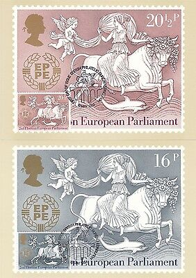 Election European Parliament 1984 Great Britain 2 PHQ Cards (Stamps on Front)