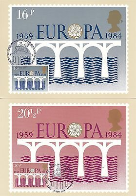 Europa 1984 Great Britain 2 PHQ Cards (Stamps on Front)