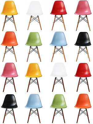 Children's DSW style side Dining Chair Scandi Retro plastic with wood legs!