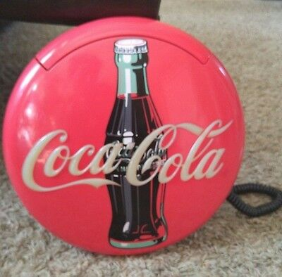 "1995 Coca-Cola Neon Red Blinking Light 12"" Round Disc Telephone Free Shipping!"